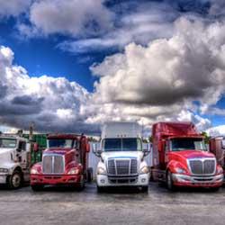 Red and White Semi Trucks