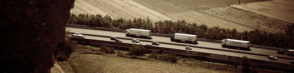 Single Line of Semi Trucks